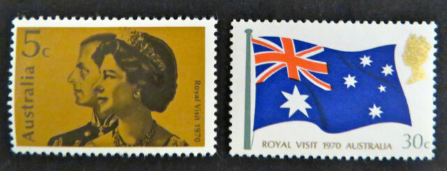 1970 Australian Stamps - Royal Visit - Queen Elizabeth II - Set of 2 MNH