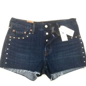3e5f5c6f7a3 LEVI'S 501 High Rise SHORTS Raw Hem Button Fly Authentic Jeans ...