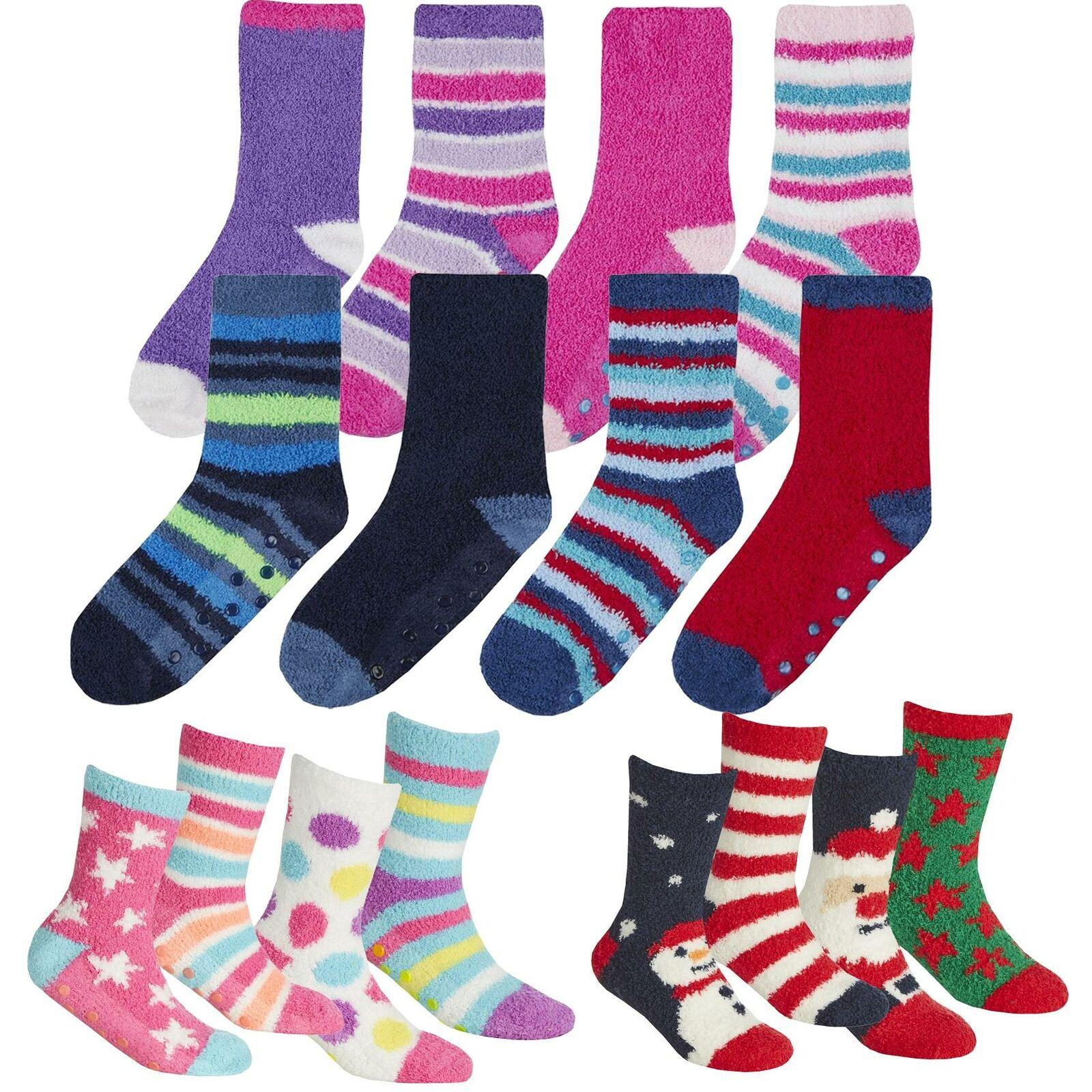 4 Pack Childrens Girls Boys Soft & Cosy Slipper Socks Anti Slip Grippers Gift