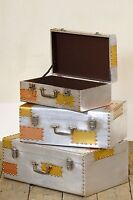 Dusx Industrial Aluminium & Copper Style Set Of 3 Storage Trunks Cases
