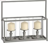 Large Grey Metal Glass Triple Candle Holder Shabby Industrial Chic Lantern