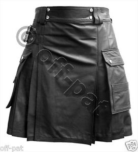 Leather-Utility-Kilt-Twin-CARGO-Pockets-Pleated-with-Twin-Buckles-Mans-Mens