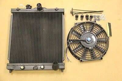 BLACK SERIES DUAL CORE ALUMINUM 2 ROW RADIATOR+FAN INTEGRA 94-01 DC2 HALF SIZE