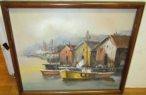 J-SALLOS-FISHING-BOATS-AT-DOCK-ORIGINAL-OIL-ON-CANVAS-SEASCAPE-PAINTING