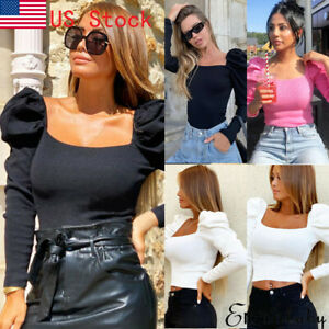 Women-Vintage-Square-Neck-Ruffle-Long-Puff-Sleeve-Tops-T-Shirt-Ribbed-Crop-Tee