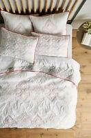 Anthropologie 3pc Besalu Coverlet Queen Embroidered Pink Quilt 2 Std Shams