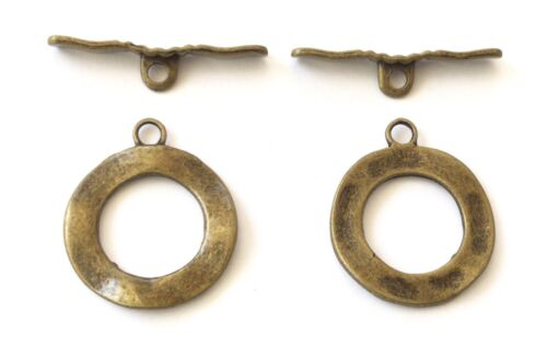 2 Bronze round Toggle Clasps