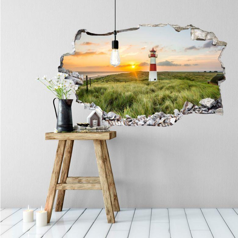 3D Wandtattoo Mauerdurchbruch Urlaub Meer Leuchtturm Sylt Strand Wandbild Deko