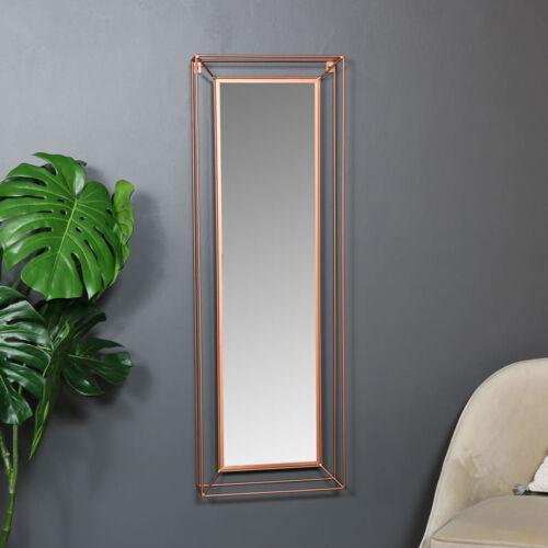 Gran color Rectángulo Metal Cobre Enmarcado Espejo de pared vanidad Vintage Retro Chic