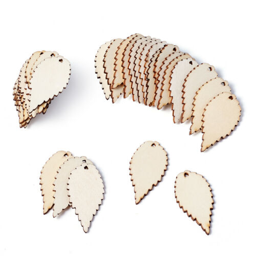 100pcs Unfinished Wood Leaf Pendants Big Smooth Dangle Charms Antique White 50mm