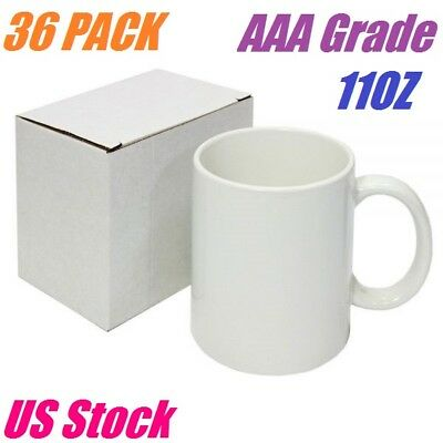 c9401703640 Details about 36 White Blank Sublimation Mugs 11OZ Grade AAA Heat Transfer  Ceramic Coated Mugs