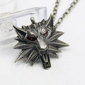 Geralt-Action-Figure-The-Witcher-Wolf-Head-Pendant-Geralt-Cosplay-Necklace