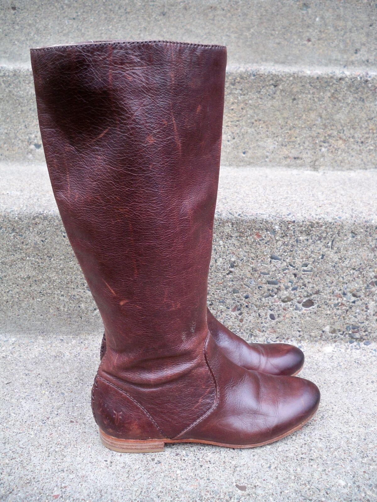 348 Frye  76010 Jillian Enfiler Haut En Cuir Marron Pour Femme Bottes D'Équitation Taille 5.5