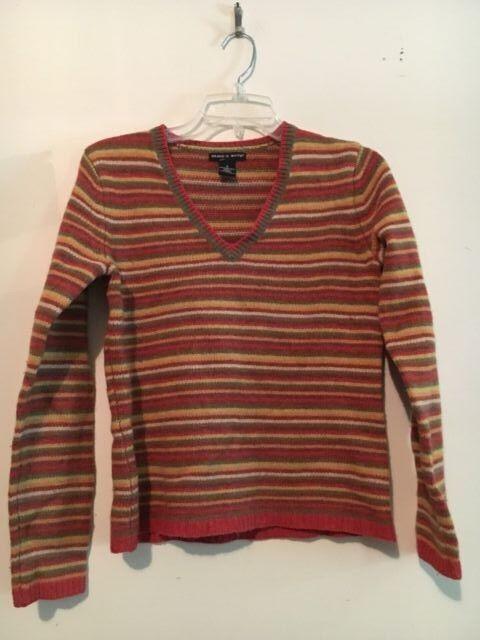 Deane & White 100% Lambswool MultiStripe Women Sweater Top Blouse Size S Winter