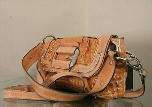 GUESS Femme Épaule Bag Baguette Cocrodile Imprimer Cross Belt Faux Orange Cuir