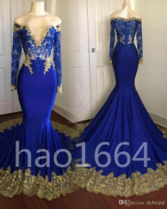 8e511d5e338 New royal blue prom dress plus size dress gold appliques long sleeve ...