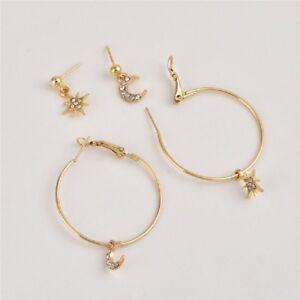 4Pcs-Set-Minimalist-Punk-Circle-Hoop-Crystal-Star-Ear-Stud-Jewelry-Moon-Earrings