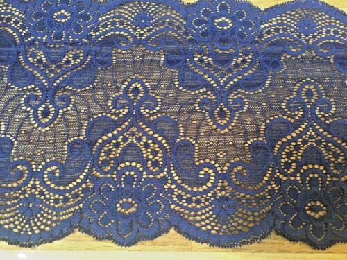 """6.5/""""//16cm Art Deco Style French Navy Blue Stretch galón de encaje de corte costura//artesanía"""