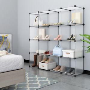 16 Fächer Kleiderschrank DIY Regalsystem Steckregal Garderobe ...