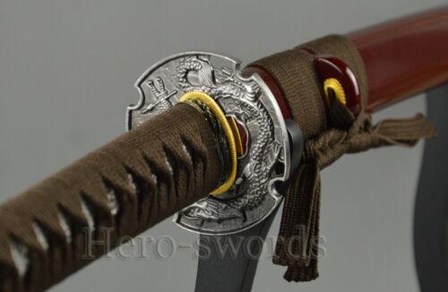 Sliver Dragon Japanese Samurai Sword Red Folded Steel Katana Battle Ready Knfe