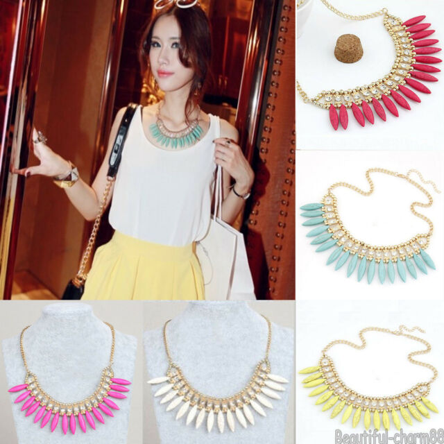 Fashion Women Lady's Alloy Turquoise Crystal Choker Statment Necklace Jewelry
