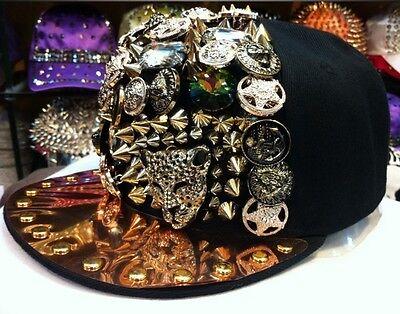 Hip-hop Spikes Spiky Rivets Studded Button Leopard Adjustable Cap Hat Snapback