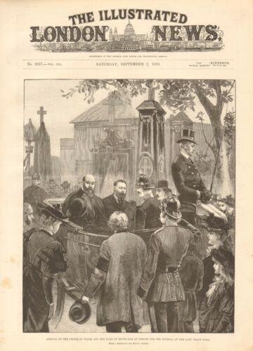 1893 ANTIQUE PRINT PRINCE OF WALES AND DUKE OF EDINBURGH AT COBURG