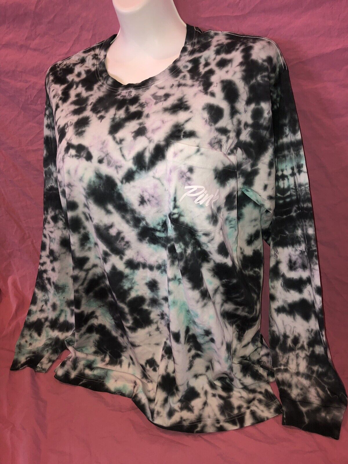 Victoria's Secret Rosa Campus Long Sleeve Tee T-Shirt L XL Turquoise Tie Dye ❤️