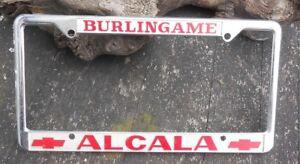 Details About Vintage License Plate Frame Dealer Alcala Chevrolet Burlingame