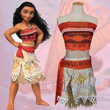 Bid Kid Girl Women Animie Movie Princess Moana Cosplay Costume Dress Halloween