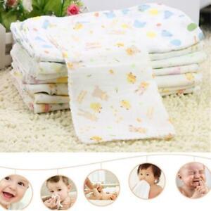 10X-Baby-Gaze-Musselin-Platz-100-Baumwolle-Bad-Waschen-Taschentuch-Kids