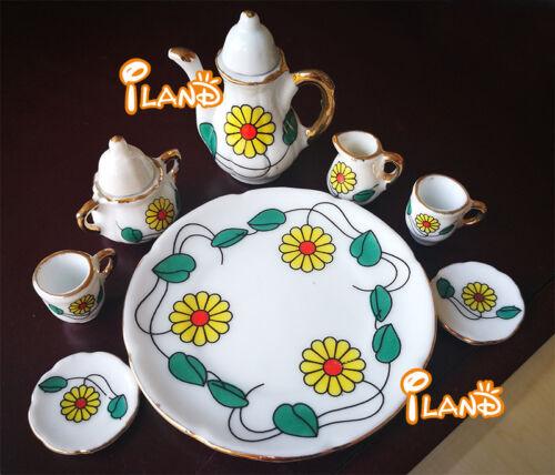 Dollhouse Miniature 1:6 Scale Tea Set China Porcelain 8 pcs New