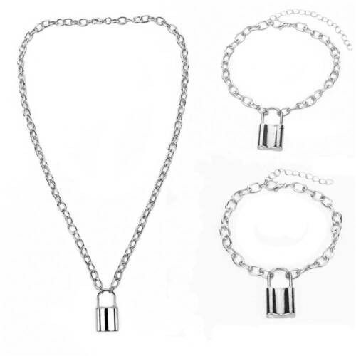 3St Unisex Choker Alloy Lock Anhänger Halskette Vorhängeschloss Schmuck Geschenk