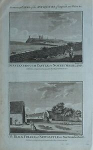 c1786-ANTIQUE-PRINT-DUNSTANBROUGH-CASTLE-NORTHUMBERLAND-BLACK-FRIARS-NEWCASTLE
