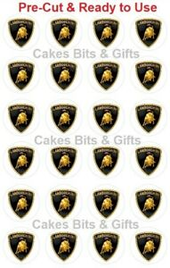 24x-LAMBORGHINI-CAR-LOGO-BADGE-Edible-Wafer-Cupcake-Toppers-PRE-CUT-Ready-to-Use
