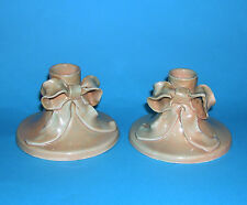 Studio Pottery - Attractive Pair Of Ribbon Bow Tie Style Candle Holders -Marked.