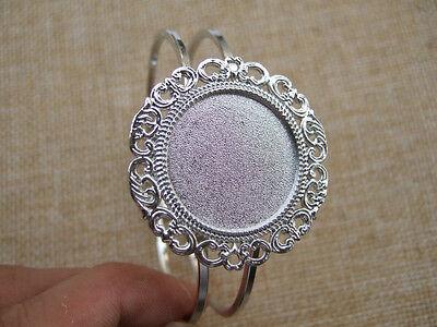 1 pcs Silver Polished Cuff Bangle Bracelet 25mm Round Cabochon Cameo Setting