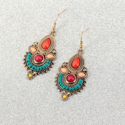 Boucles d/'oreilles Doré Chandelier Mini Perle Multicolore Orange Vert Retro CC11