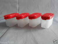 Tupperware Set Of 4 Small Spice Storage Containers Shakers Shake Scoop Red 1/2 C