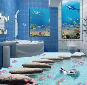 3D Delfín Piedra Papel Pintado Mural Parojo Impresión de suelo 9256 5D AJ Wallpaper Reino Unido Limón