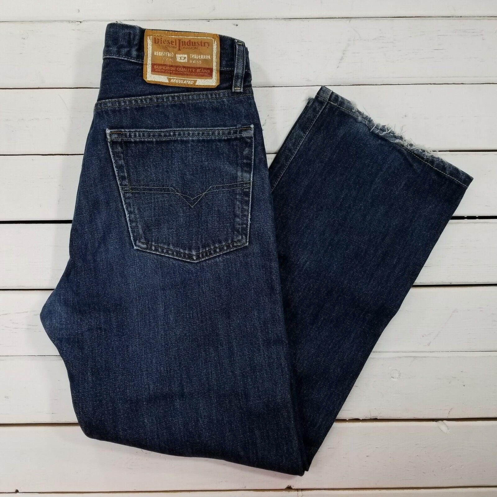 Diesel Jeans Kratt Mens 31x29 Dark Wash Distressed Mid Rise Straight Leg J81