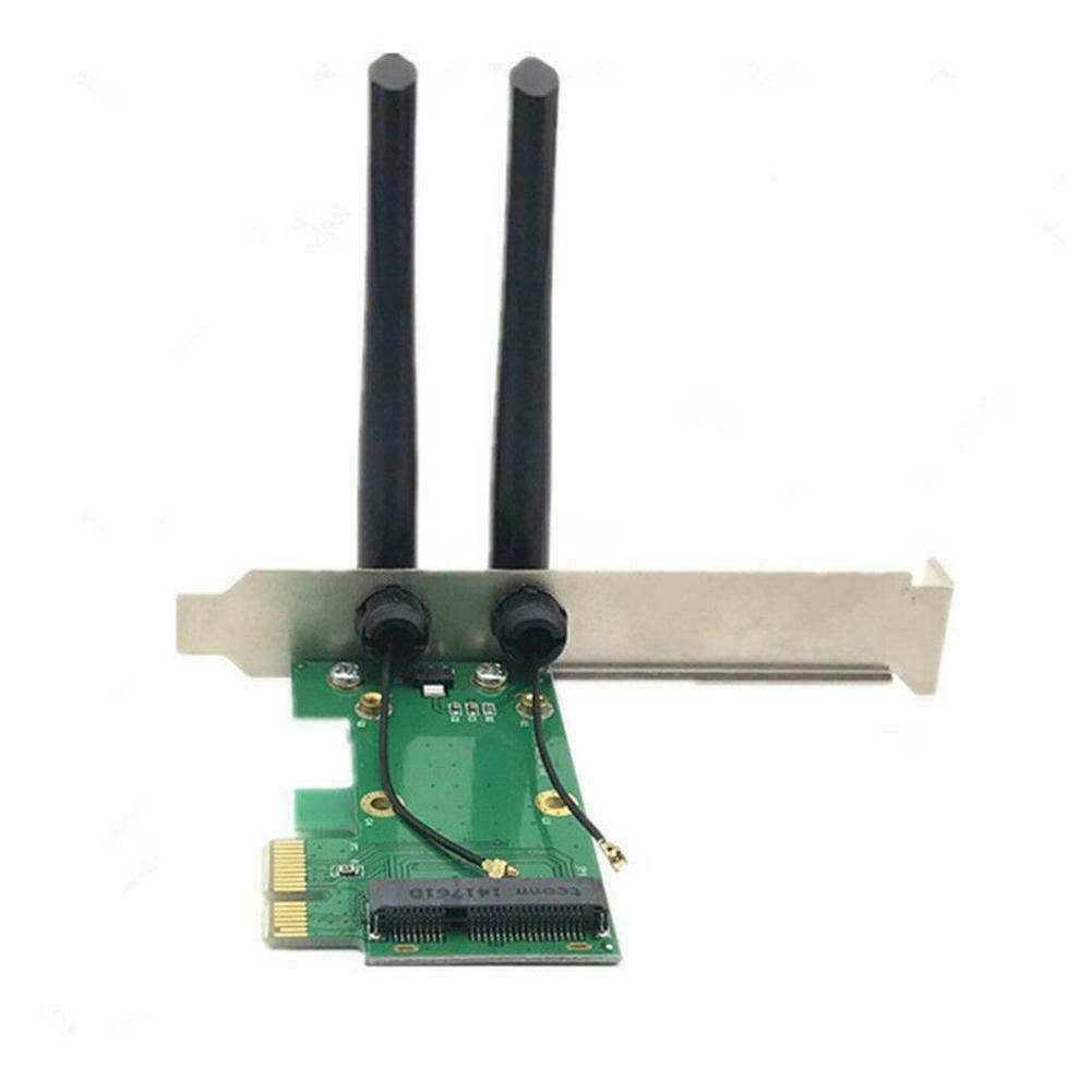 Wireless Wifi Network Card Mini PCI-E To PCI-E 1x Desktops 2x Antennas T5C2 F1Q6