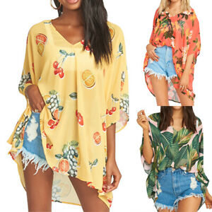 Women-Boho-Floral-V-neck-Casual-T-shirt-Summer-Baggy-Tunic-Blouse-Tops-Plus-Size