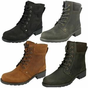 Ladies-Clarks-Casual-Lace-Up-Inside-Zip-Nubuck-Leather-Ankle-Boots-Orinoco-Spice