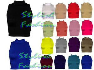 New-Womens-Ladies-Sleeveless-Plain-Polo-High-Neck-Turtle-Crop-Top-Vest-T-Shirt