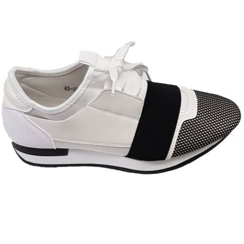 Ladies Lace Up Elastic Band Bali Mesh Two Toned Panel Trainers