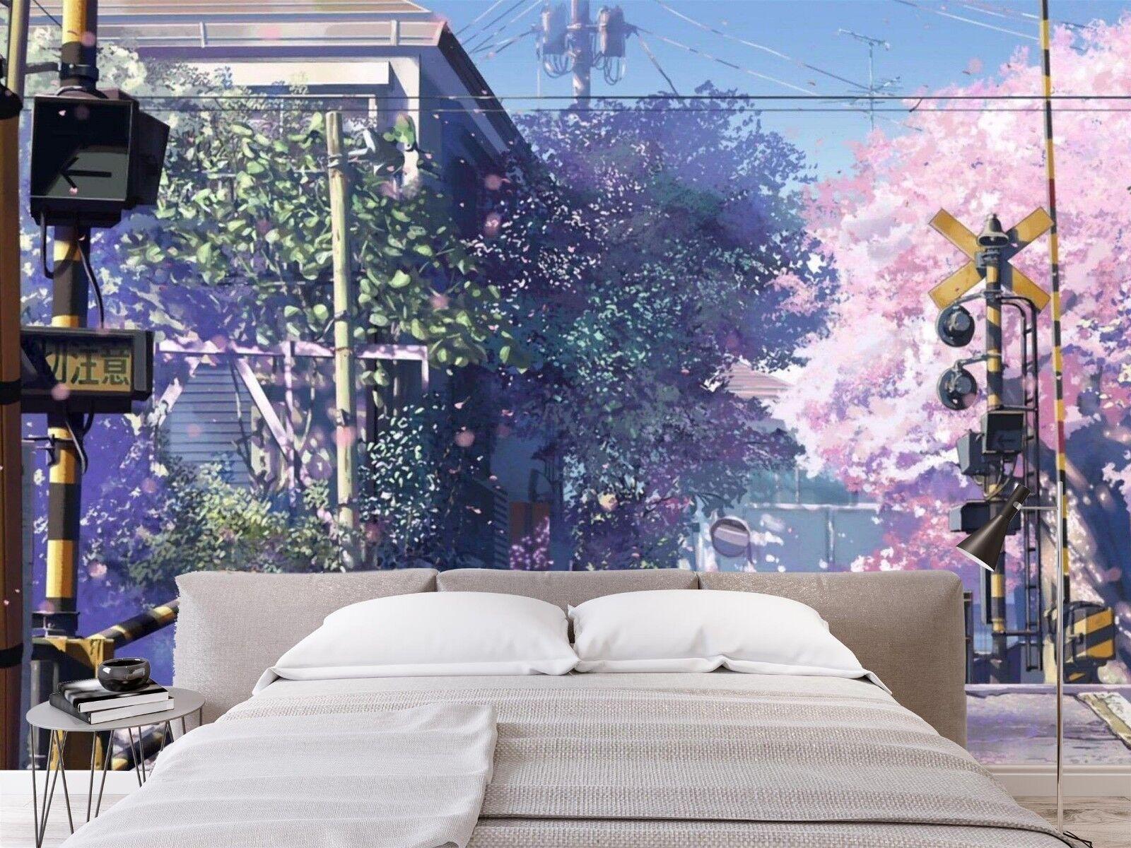 3D Sakura Railway Japan 5 Wallpaper Murals Wall Print Wallpaper Mural AJ WALL AU