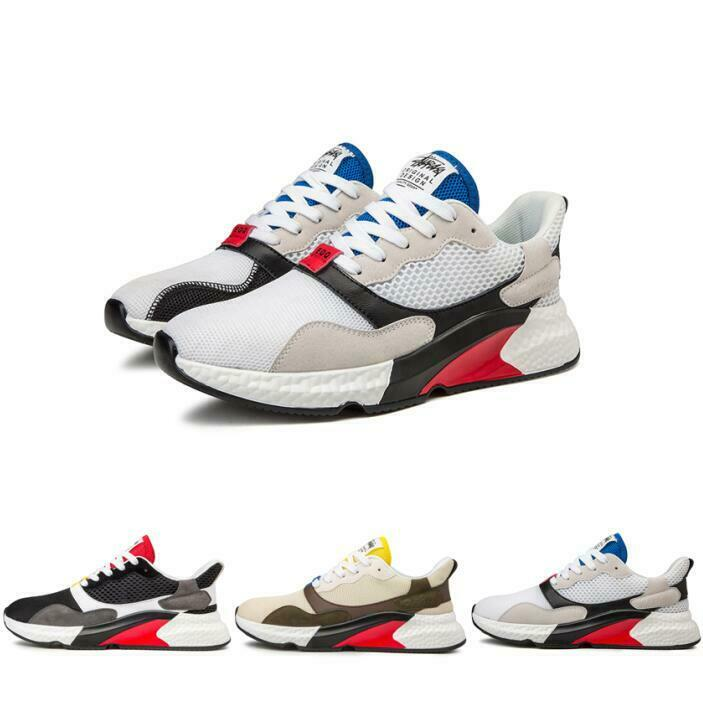 Mens Athletic Lace Up Running Match color Trainers Outdoor Low Top Sport shoes