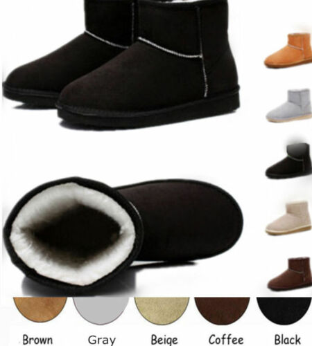 Women Suede Fur Lined Mid-calf Short Boots Simple Winter Warm Fashion Shoes New