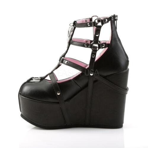 "DEMONIA 5/"" Wedge Platform Gothic Punk Ankle Boots Booties w// Pentagram Chain"